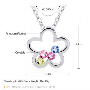 Crafts Swarovski Elements Colorful Plum Blossom Pendant necklace for Women And Girls -
