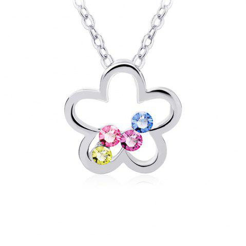 Fancy Crafts Swarovski Elements Colorful Plum Blossom Pendant necklace for Women And Girls
