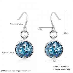 Ouxi Silver Earrings Stubs Birthstone Round Hanging Cubic Zirconia Ocean Blue Diamond -