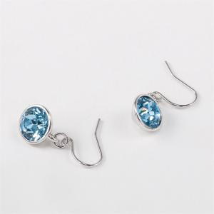 Ouxi Silver Earrings Stubs Birthstone Round Hanging Cubic Zirconia Ocean Blue Diamond - SILVER AND BLUE
