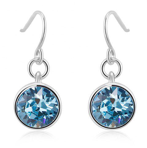 Latest Ouxi Silver Earrings Stubs Birthstone Round Hanging Cubic Zirconia Ocean Blue Diamond SILVER AND BLUE
