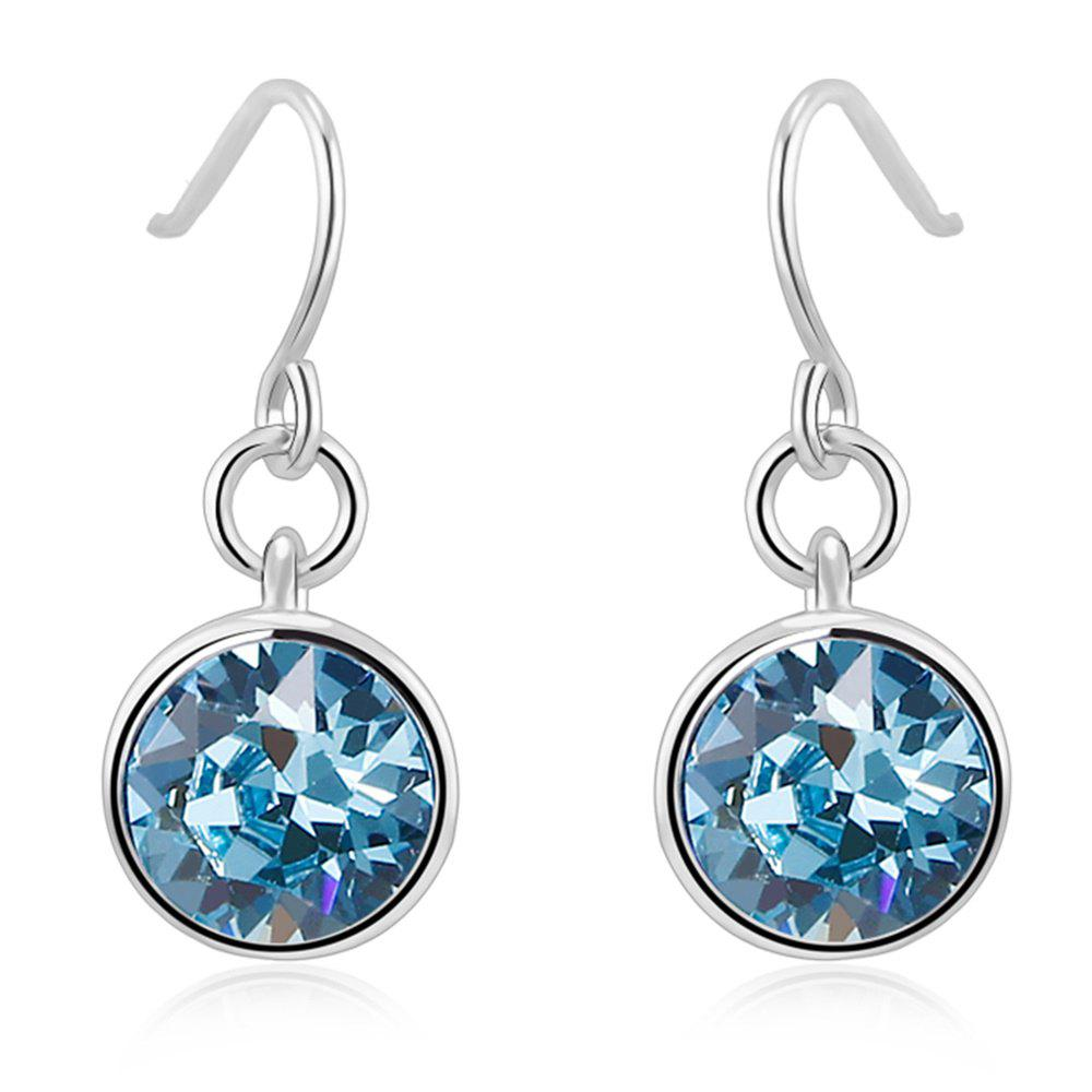 Latest Ouxi Silver Earrings Stubs Birthstone Round Hanging Cubic Zirconia Ocean Blue Diamond
