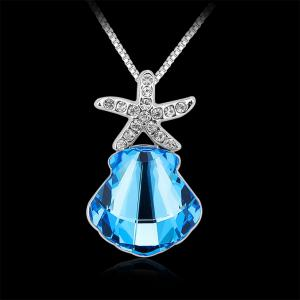 Memorial Jewelry Starfish Scallops Pendant Necklace Souvenir Ocean Blue Special Gifts -