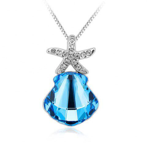 Shops Memorial Jewelry Starfish Scallops Pendant Necklace Souvenir Ocean Blue Special Gifts