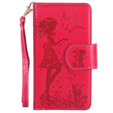 Store Wkae Retro Style Embossed Fairy Girl Faux Leather Case Cover with Large Capacity 9 Card Slots and Lanyard for iPhone X