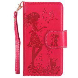Wkae Retro Style Embossed Fairy Girl Faux Leather Case Cover with Large Capacity 9 Card Slots and Lanyard for iPhone X -