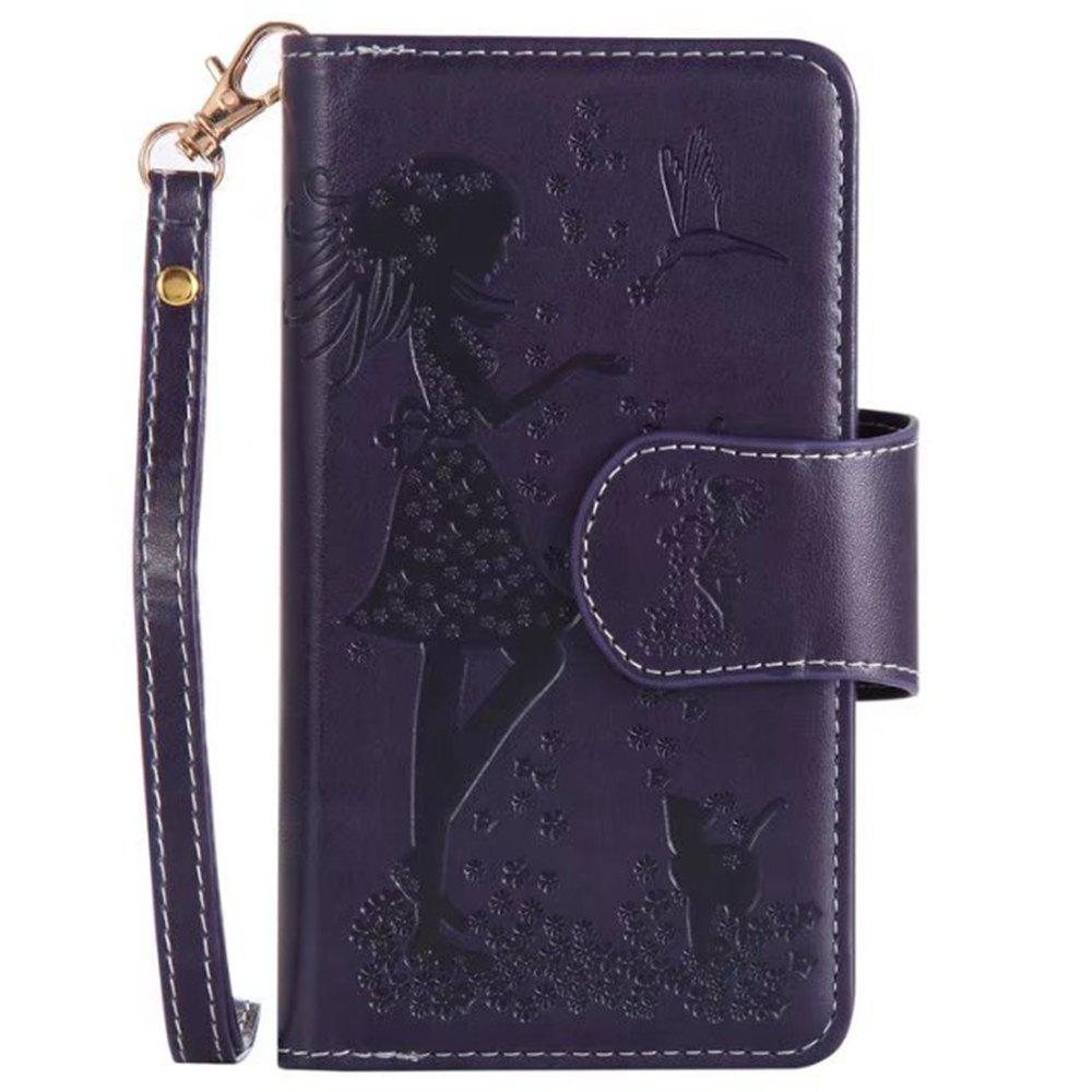 Outfit Wkae Retro Style Embossed Fairy Girl Faux Leather Case Cover with Large Capacity 9 Card Slots and Lanyard for iPhone X