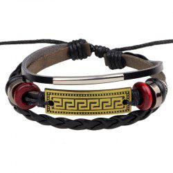 Retro Alloy Accessories Leather Bracelet -