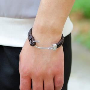 Double-Deck Leather Woven Hook Bracelet -