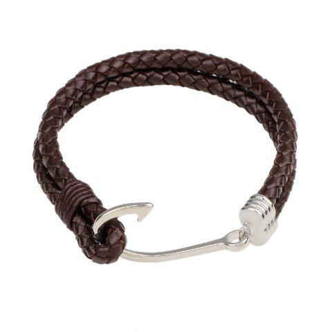 Fashion Double-Deck Leather Woven Hook Bracelet
