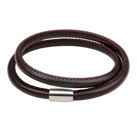 Fashion Sheepskin Hand Catenary Magnetic Buckle Two Laps BROWN #26
