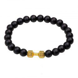Black Frosted Dumbbell Beaded Bracelet - GOLD