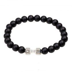 Black Frosted Dumbbell Beaded Bracelet -
