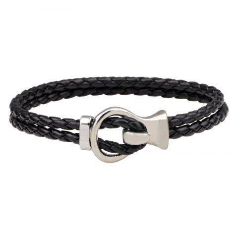 Outfits Fashion Double-Deck Leather Woven Hook Bracelet - SILVER WHITE 1001A#  Mobile
