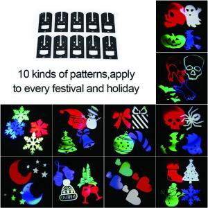 Supli Outdoor Christmas Projector Lights Multicolor Rotating Led Light Projection Waterproof Snowflake Spotlight-10pcs Pattern -