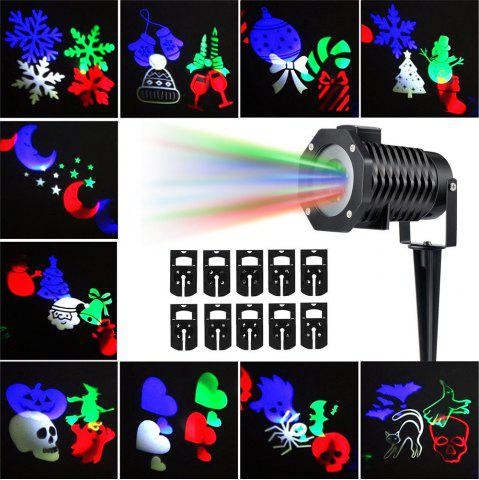 Trendy Supli Outdoor Christmas Projector Lights Multicolor Rotating Led Light Projection Waterproof Snowflake Spotlight-10pcs Pattern - US COLORFUL Mobile