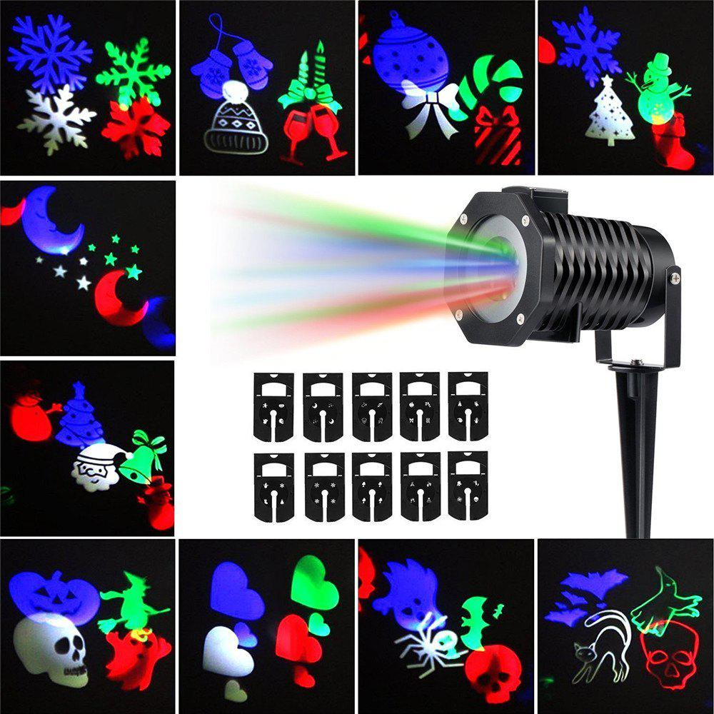 Supli Outdoor Christmas Projector Lights Multicolor Rotating Led Light Projection Waterproof Snowflake Spotlight-10pcs PatternHOME<br><br>Size: EU; Color: COLORFUL; Holder: Other; Output Power: 12W; Voltage (V): AC 86 - 265V; Color Temperature or Wavelength: RGB; Features: Easy to use; Function: Outdoor Lighting; Available Light Color: Colorful; Body Color: Black; Sheathing Material: Metal;