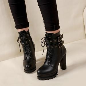 Women's Stylish Martin Boots Round Toe Thick Heels Star Rivets Pendant Lace-up Boots -