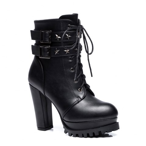 Hot Women's Stylish Martin Boots Round Toe Thick Heels Star Rivets Pendant Lace-up Boots