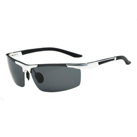 Store TOMYE 8530 Sports Polarized Lens  for Men and Women High-Definition Outdoor Cycling Sunglasses SILVER FRAME+GREY LENS