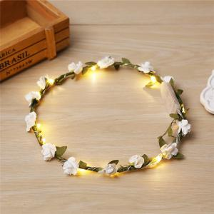 AY - hq210 Bride Headdress Glowing Rose Flower Wreaths -