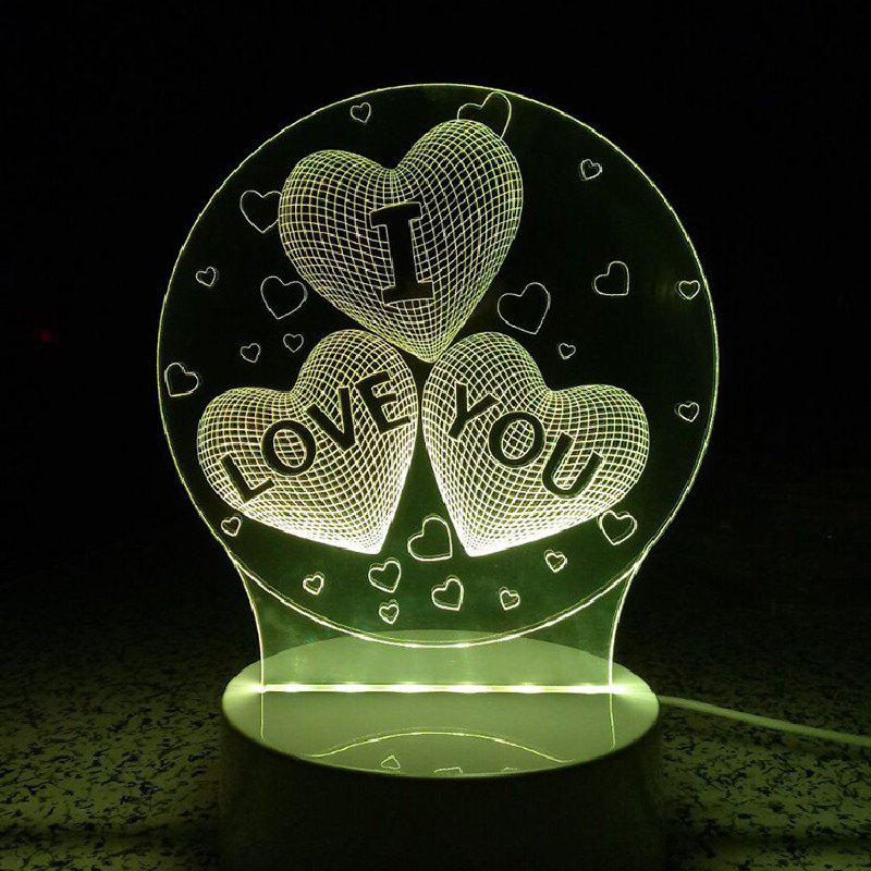 Heart I Love You Night Light Touch 3D LED Table Desk LampHOME<br><br>Color: RGB; Wattage: Other; Mini Voltage: 12V; Light Source Color: Remote control 7-Color; Light Type: LED,LED Night Light,Night Light,Table Lamp; Power Source: USB charging; Connector Type: USB; Features: Remote Controlled; Color Temperature or Wavelength: RGB; Battery Quantity: 1; Quantity: 1; Style: Artistic Style;