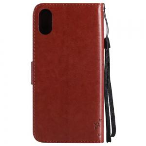 Wkae Retro Style Cat and Tree Embossed Pattern Leather Case Cover with Card Slots Lanyard for iPhone X -
