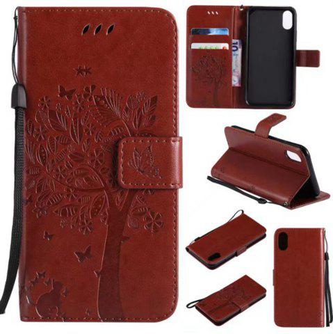 Store Wkae Retro Style Cat and Tree Embossed Pattern Leather Case Cover with Card Slots Lanyard for iPhone X