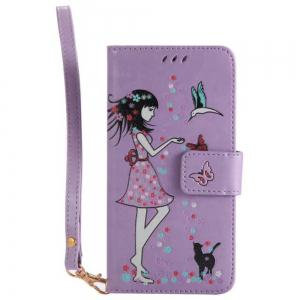 Wkae Retro Style Luminous Effect Embossed Fairy Girl Leather Case with Card Slots Lanyard for iPhone X -