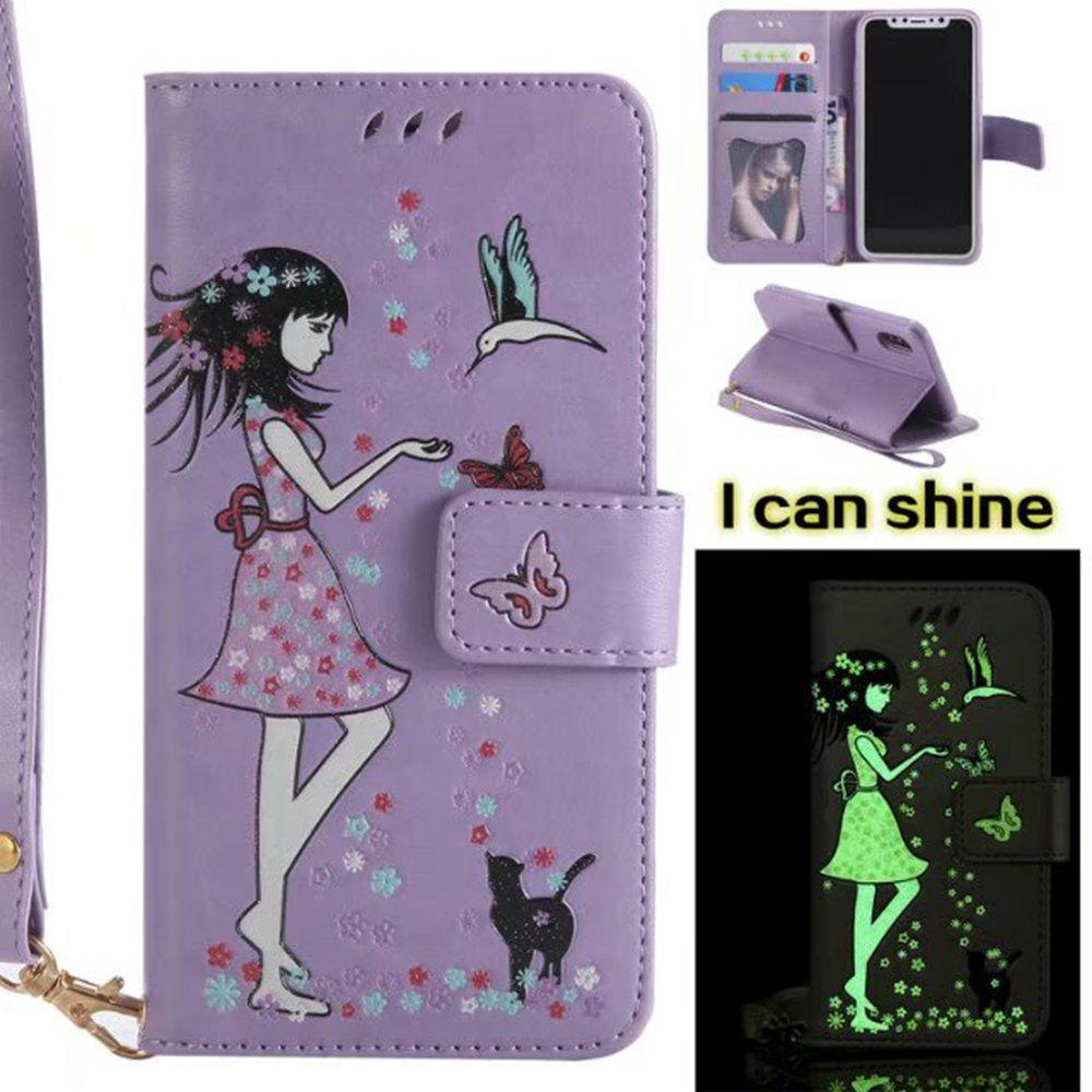 Cheap Wkae Retro Style Luminous Effect Embossed Fairy Girl Leather Case with Card Slots Lanyard for iPhone X