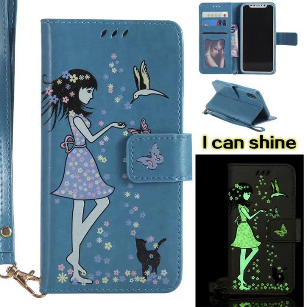 Affordable Wkae Retro Style Luminous Effect Embossed Fairy Girl Leather Case with Card Slots Lanyard for iPhone X