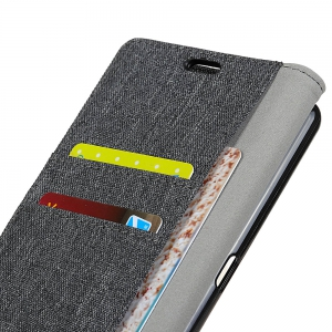 Wkae Retro Jeans Cloth Texture Folio Stand Case with Card Slots for Doogee MIX -