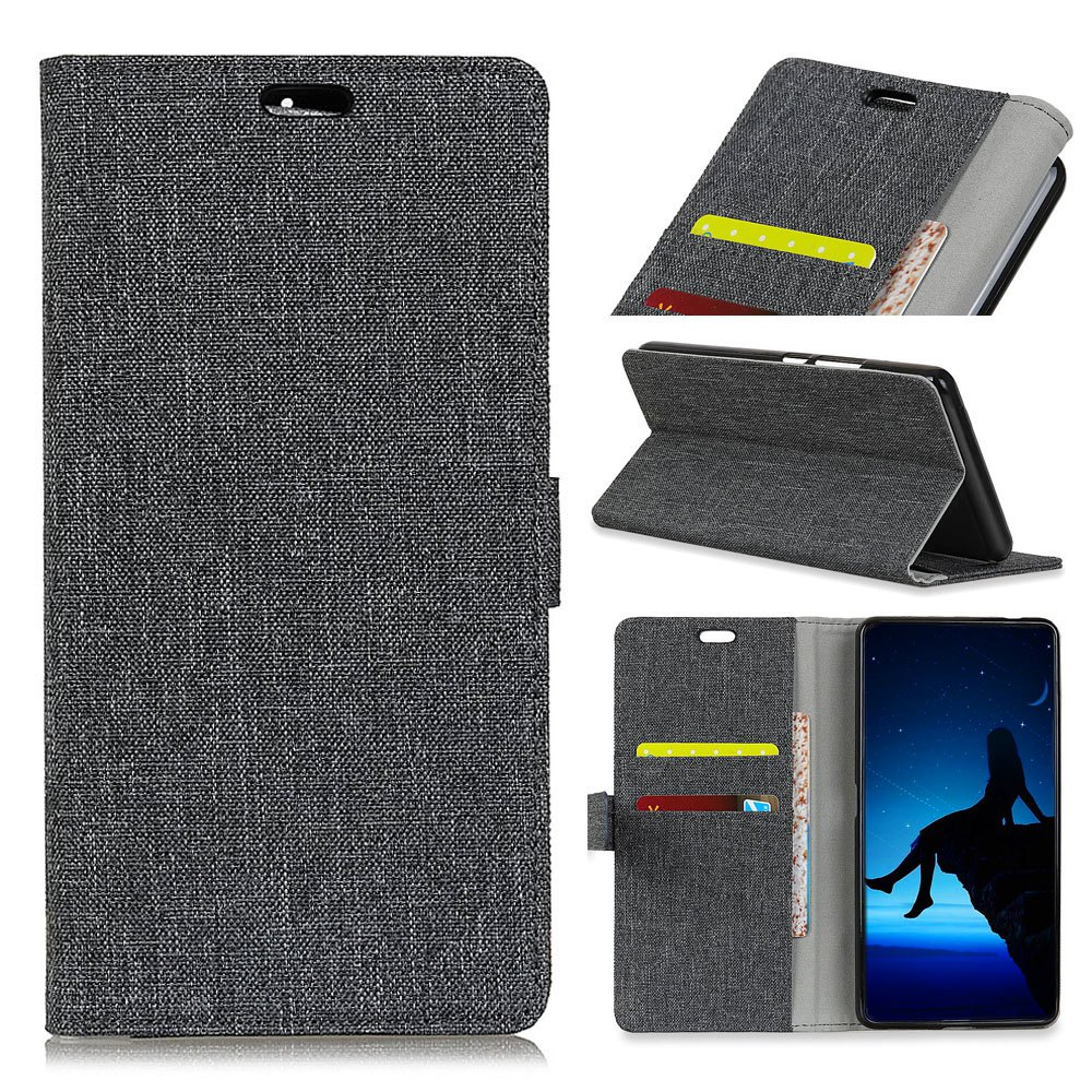 Fashion Wkae Retro Jeans Cloth Texture Folio Stand Case with Card Slots for Doogee MIX