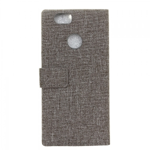 Wkae Retro Jeans Cloth Texture Folio Stand Case with Card Slots for Huawei Enjoy 7 / P9 Lite Mini -