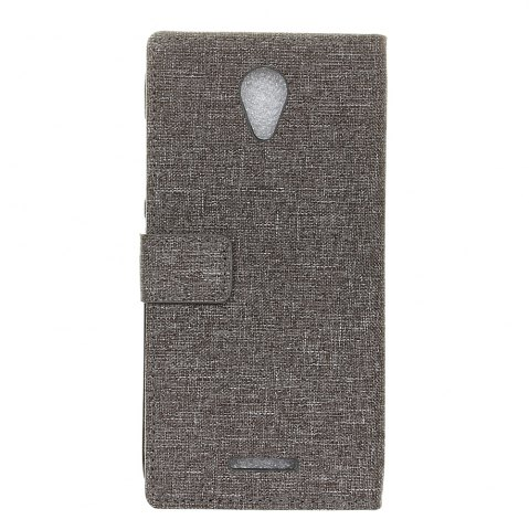 Trendy Wkae Retro Jeans Cloth Texture Flip Stand Case with Card Slots for WIKO Tommy 2