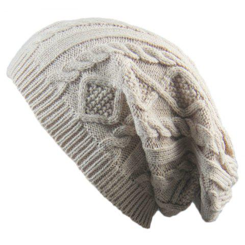 Unique Winter Cap Small Twist Knitted Hats Europe and The United States Outdoor Men and Women Leisure Sets of Wool Hat - BEIGE  Mobile