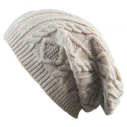 Winter Cap Small Twist Knitted Hats Europe and The United States Outdoor Men and Women Leisure Sets of Wool Hat - BEIGE