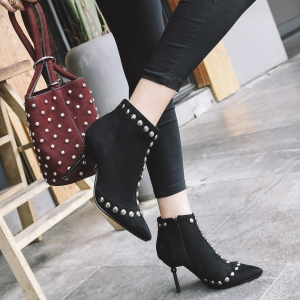 Women's Bottine Side Zipper Rivet Elements Pointed Toe Thin Heels Shoes -