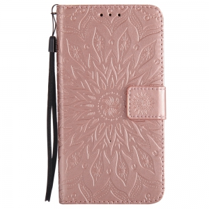 Yanxn Sun Flower Printing Design Pu Leather Flip Wallet Lanyard Protective Case for Samsung Galaxy J7 Pro 2017 J730 (European Version) -