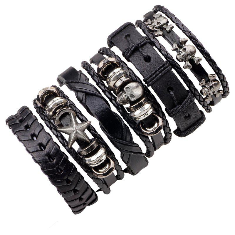 6 Pcs Black Skull Woven Leather Bracelet MaleJEWELRY<br><br>Color: BLACK 2R2610#;