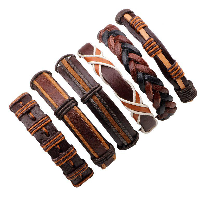 Chic 6 Pcs Fashion Leather Wax Rope Hand Woven Bracelets