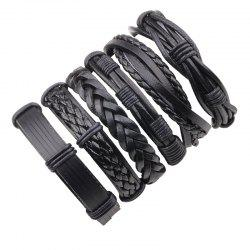 6 Pcs Vintage Punk Style Hand Woven Leather DIY Bracelet -