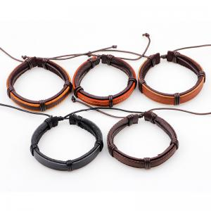 Punk Style Vintage Leather Bracelet Male 5 Pcs - MULTICOLOR