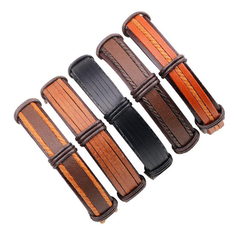 Trendy Punk Style Vintage Leather Bracelet Male 5 Pcs