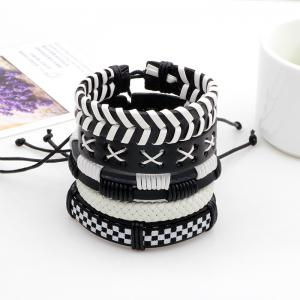 Black and White Leather Rope Hand Woven Bracelet 5 Pcs -