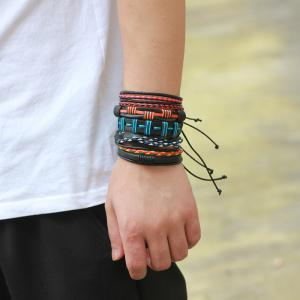 5 PCS Colorful Snake Hand Woven Leather Bracelet -