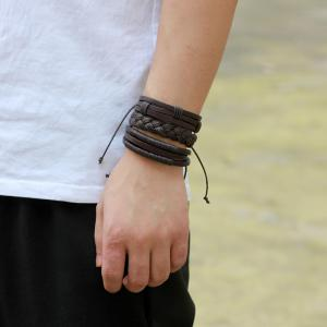 3 Pcs Fashion Leather Braided Bracelet -
