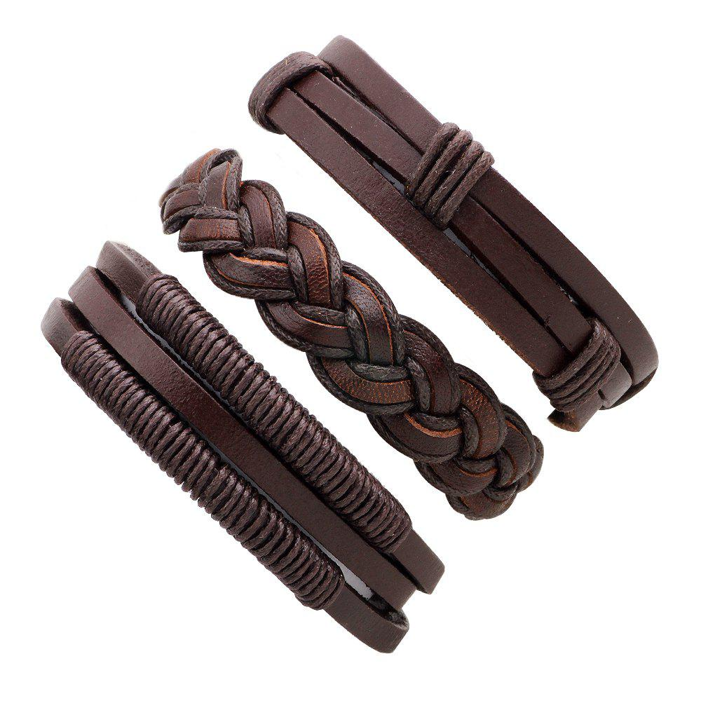 Store 3 Pcs Fashion Leather Braided Bracelet