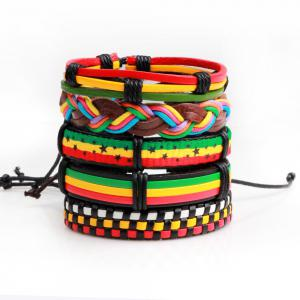 5 Pcs Colorful Wax Rope Woven Manual Leather Bracelet -