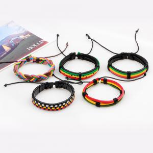 5 Pcs Colorful Wax Rope Woven Manual Leather Bracelet - MULTICOLOR